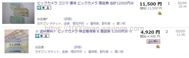 ビックカメラの優待券がヤフオクで売られている。12000円分の優待券・商品券が11500円、5000円分の商品券が4920円売られている